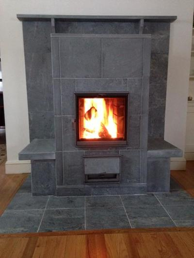 Converted Open Fireplace to Tulikivi T1000 with Side Benches in Bristol, Rhode Island