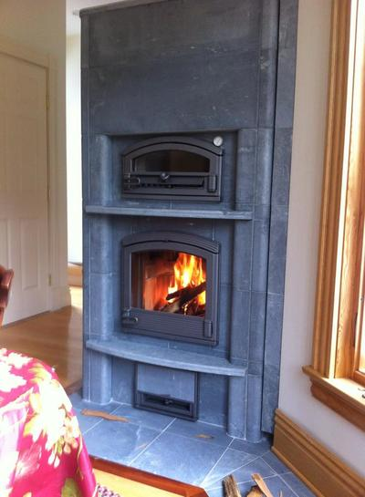 Tulikivi Fireplace with Bakeoven Installation in Existing Home Concord, Massachusetts